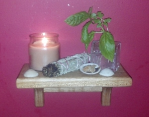 My simple elemental kitchen altar offers moments of serenity during busy days.