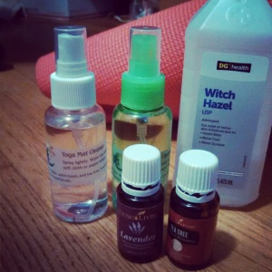 Making essential oil powered yoga mat cleaner for the studio and filling some small spray bottles for friends.